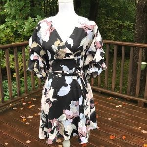 NWT! Bar lll XS Black floral faux wrap dress